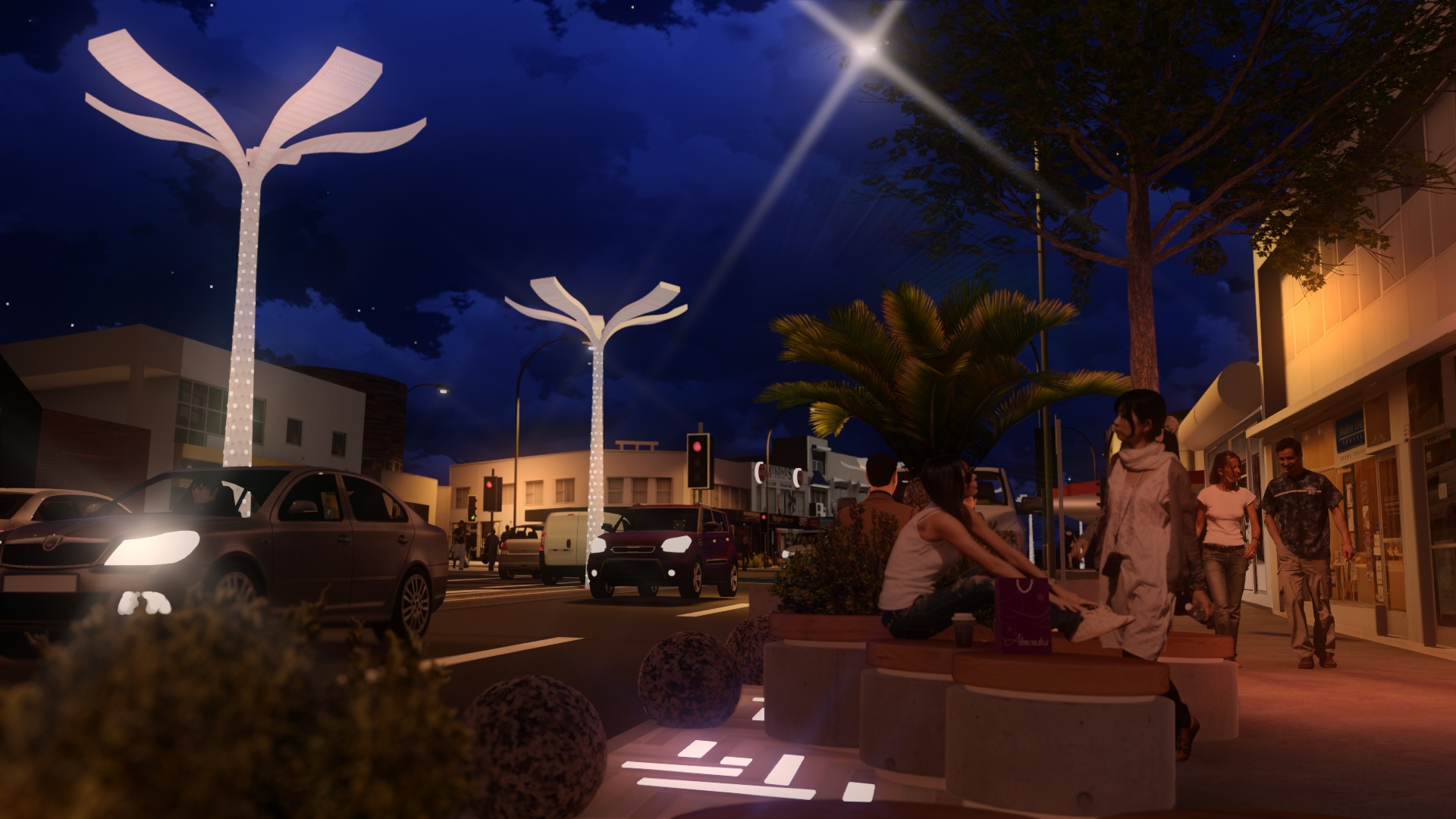 Mood lighting and seating to extend the daily public life of the High Street.